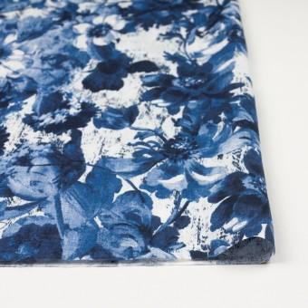 リネン×フラワー(ブルー)×薄キャンバス_イタリア製 サムネイル3