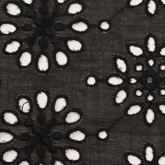 コットン×フラワー(ブラック)×ボイル刺繍_全2色 サムネイル1