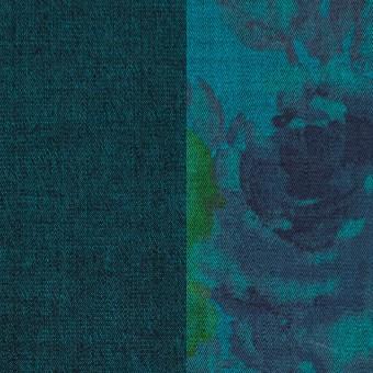 コットン&ポリエステル混×無地&フラワー(ターコイズ)×デニムストレッチ_バックプリント_全4色 サムネイル1
