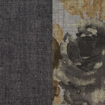 コットン&ポリエステル混×無地&フラワー(グレー)×デニムストレッチ_バックプリント_全4色 サムネイル1