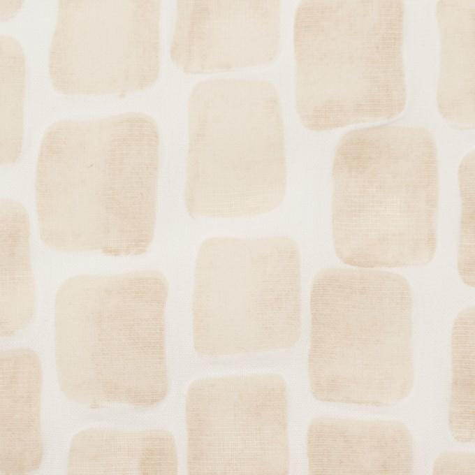 コットン×幾何学模様(ベージュ)×ボイル_塩縮加工 イメージ1