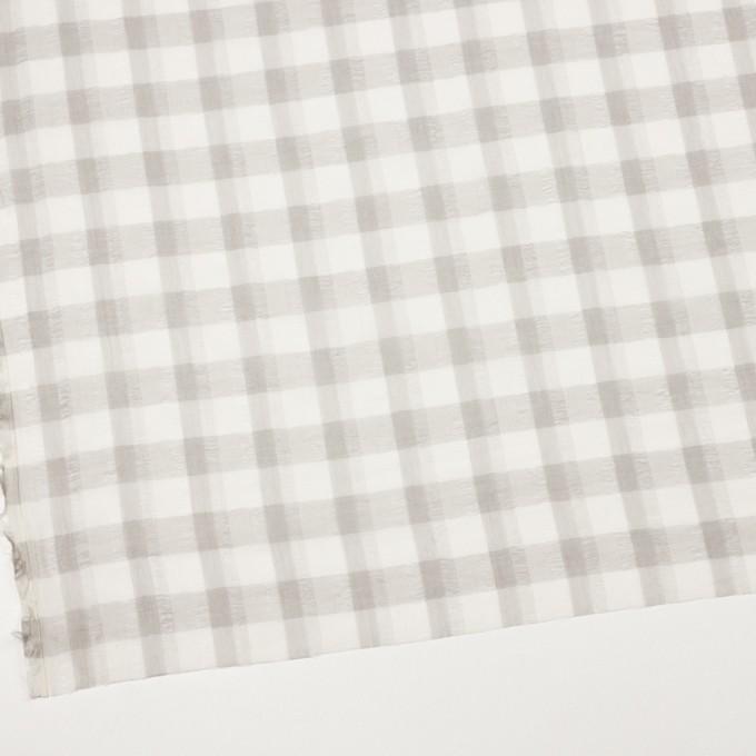 ポリエステル&コットン×チェック(アイボリー&ライトグレー)×空羽ボイル_全3色 イメージ2