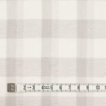 ポリエステル&コットン×チェック(アイボリー&ライトグレー)×空羽ボイル_全3色 サムネイル3