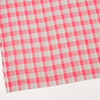 ポリエステル&コットン×チェック(チェリーピンク&ライトグレー)×空羽ボイル_全3色 サムネイル2