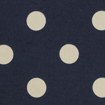 コットン&ポリウレタン×水玉(ダークネイビー&アイボリー)×チノクロス・ストレッチ サムネイル1