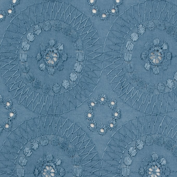 コットン×フラワー(スモークブルー)×ローン刺繍_全6色 イメージ1