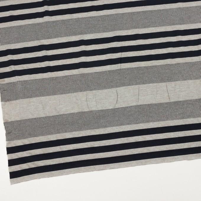 モダール&ポリエステル混×ボーダー&ストライプ(ミントグレー&ブラック)×天竺&リブニット イメージ2