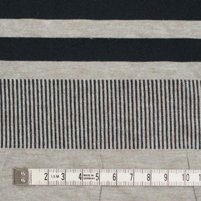 モダール&ポリエステル混×ボーダー&ストライプ(ミントグレー&ブラック)×天竺&リブニット イメージ4