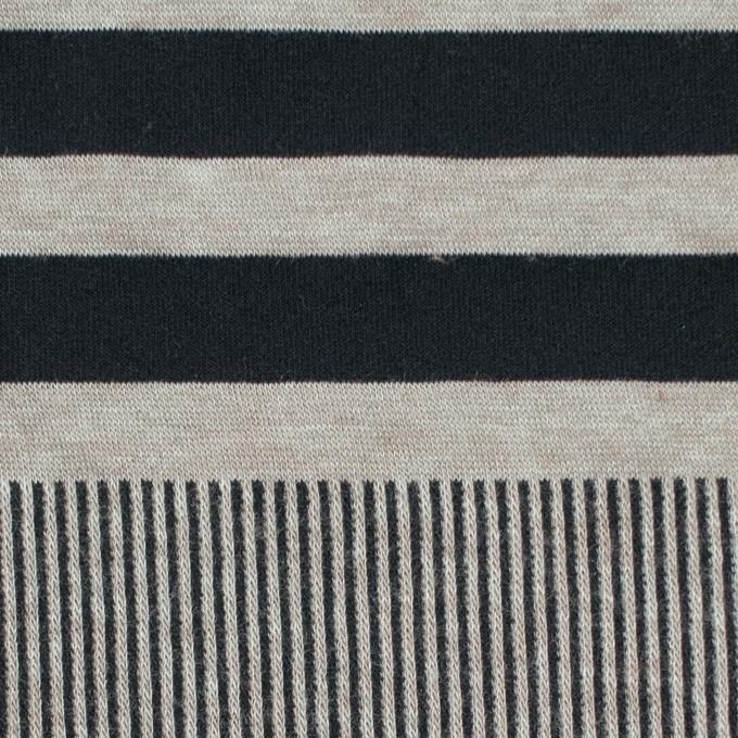 モダール&ポリエステル混×ボーダー&ストライプ(ミントグレー&ブラック)×天竺&リブニット イメージ1