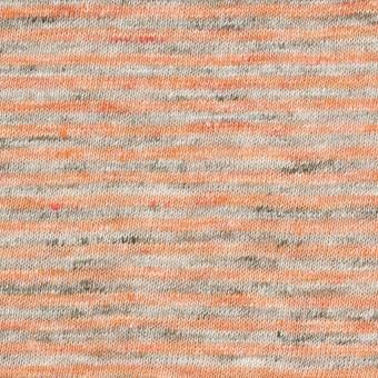 【120cmカット】リネン×ボーダー(オレンジ&杢グレー)×天竺ニット_全2色