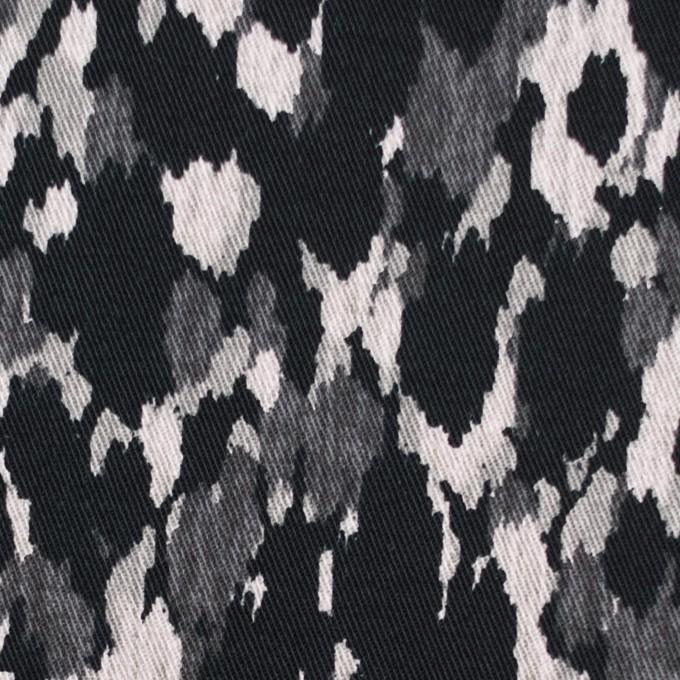 コットン&ポリウレタン×幾何学模様(ブラック)×チノクロス・ストレッチ_全2色 イメージ1