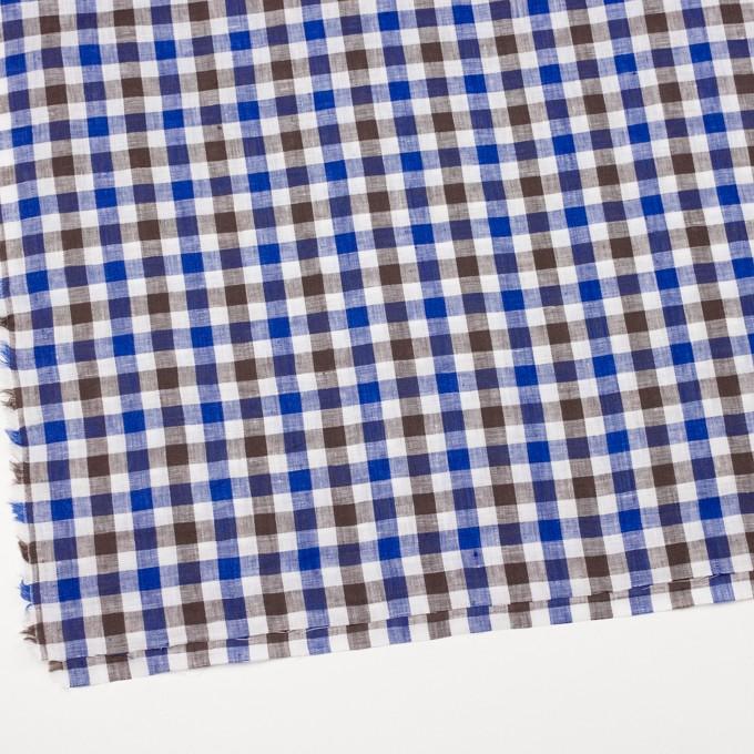 リネン×チェック(ブルー&ブラウン)×薄キャンバス イメージ2