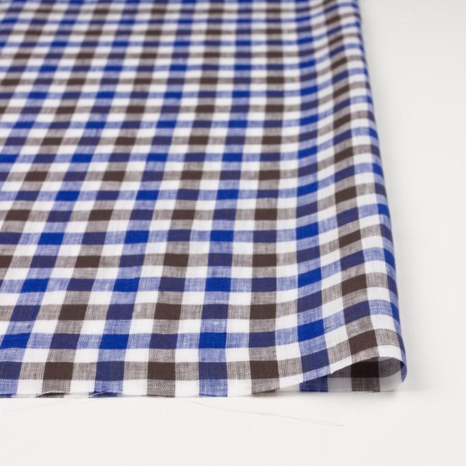 リネン×チェック(ブルー&ブラウン)×薄キャンバス イメージ3