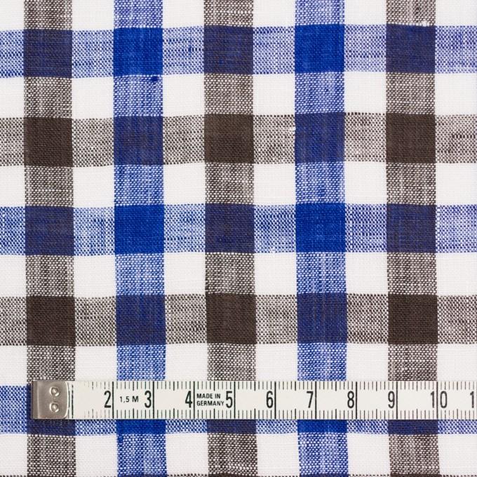 リネン×チェック(ブルー&ブラウン)×薄キャンバス イメージ4