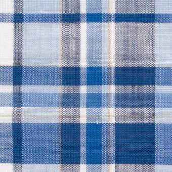 コットン&リネン×チェック(ブルーミックス)×薄キャンバス サムネイル1