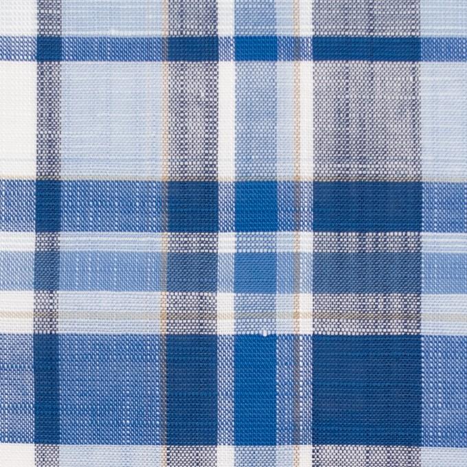 コットン&リネン×チェック(ブルーミックス)×薄キャンバス イメージ1