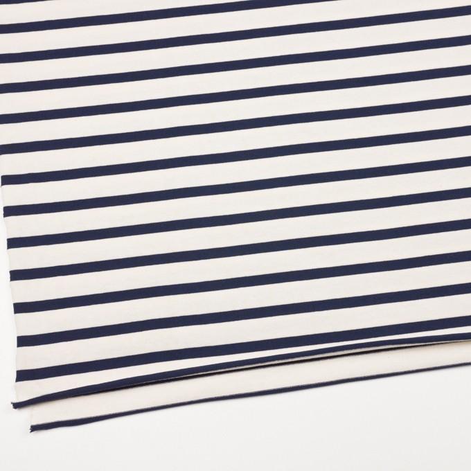 コットン×ボーダー(キナリ&ダークネイビー)×天竺ニット イメージ2
