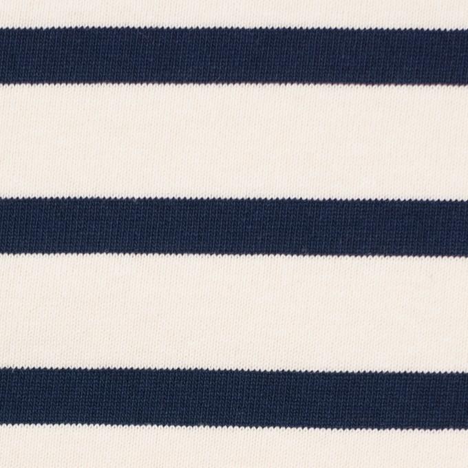 コットン×ボーダー(キナリ&ダークネイビー)×天竺ニット イメージ1