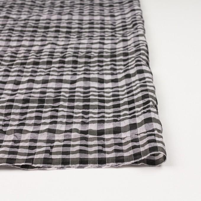 シルク&ナイロン混×チェック(パープルグレー&ブラック)×オーガンジー イメージ3