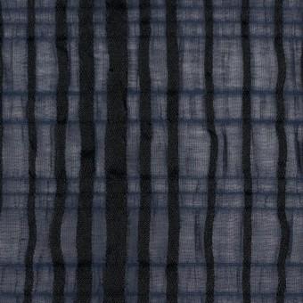ポリエステル&ポリウレタン×ストライプ(ネイビー&ブラック)×ボイルジャガード サムネイル1