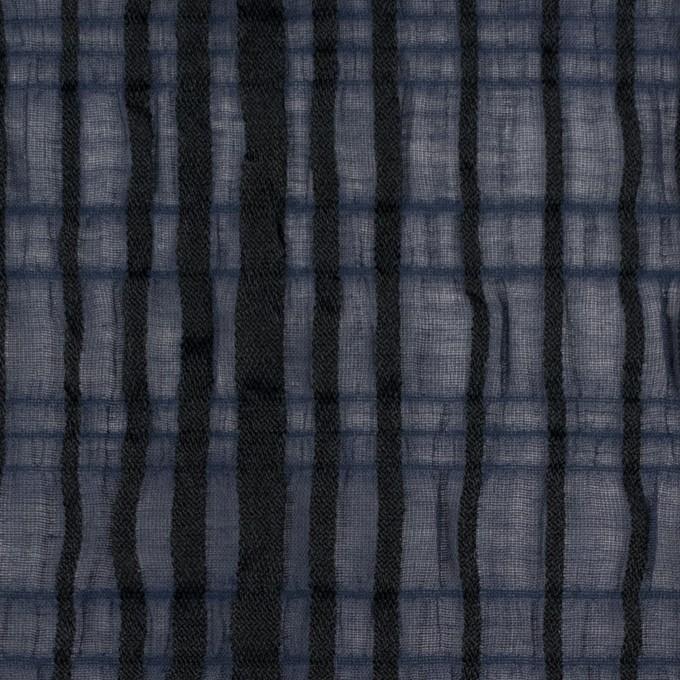 ポリエステル&ポリウレタン×ストライプ(ネイビー&ブラック)×ボイルジャガード イメージ1