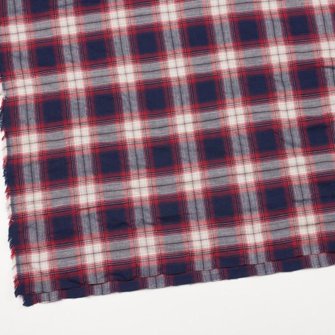 コットン&ポリウレタン×チェック(レッド&ネイビー)×ビエラ イメージ2