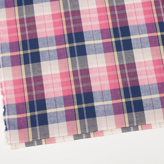 コットン&リネン×チェック(ピンク&グレープ)×薄サージ イメージ2
