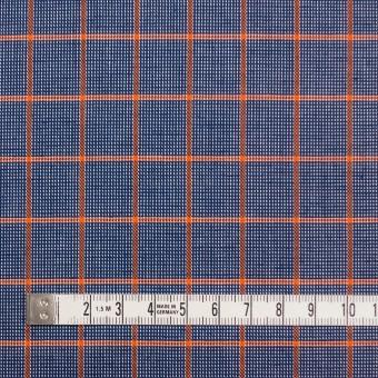 コットン×チェック(オレンジ&ネイビー)×斜子織_全2色 サムネイル4