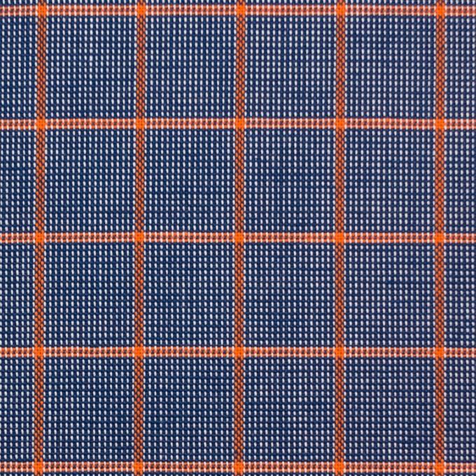 コットン×チェック(オレンジ&ネイビー)×斜子織_全2色 イメージ1