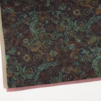 コットン&シルク×幾何学模様(ピーコックグリーン)×サテン_全2色 サムネイル2