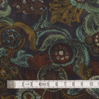 コットン&シルク×幾何学模様(ピーコックグリーン)×サテン_全2色 サムネイル4