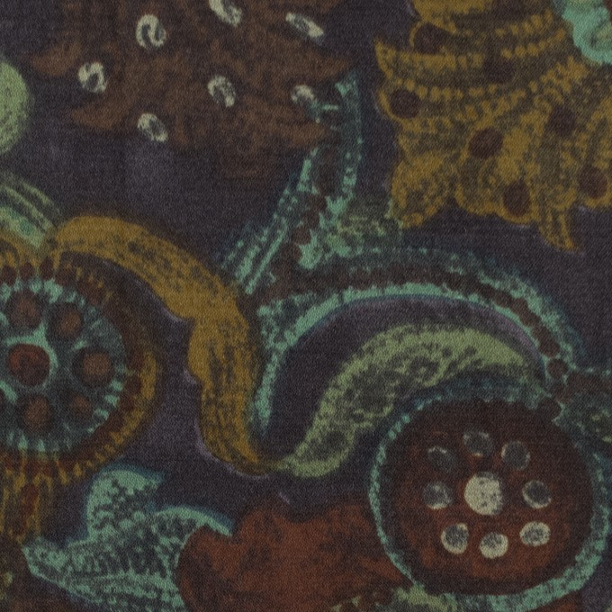コットン&シルク×幾何学模様(ピーコックグリーン)×サテン_全2色 イメージ1