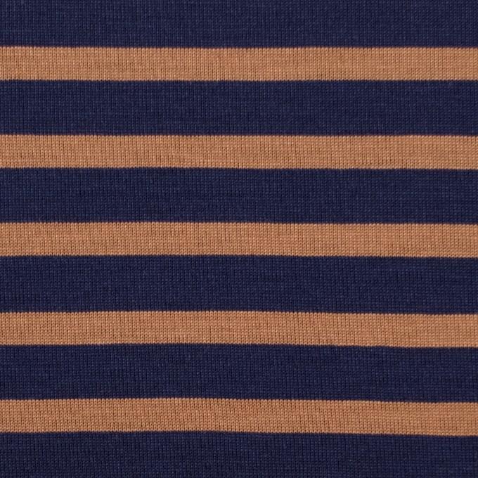 コットン&モダール×ボーダー(ネイビー&テラコッタ)×天竺ニット_全3色 イメージ1