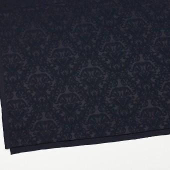 コットン&ポリエステル×幾何学模様(ブルーブラック)×サテンジャガード サムネイル2