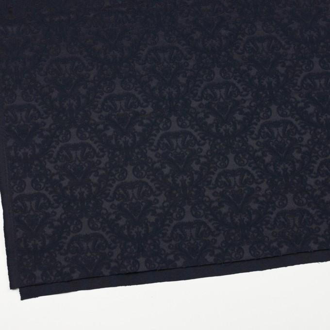 コットン&ポリエステル×幾何学模様(ブルーブラック)×サテンジャガード イメージ2