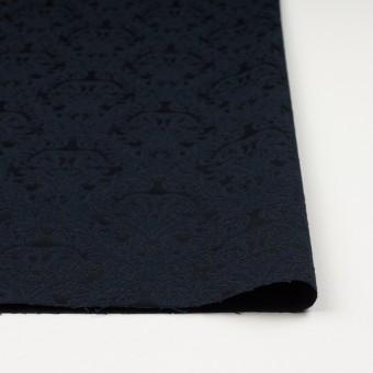 コットン&ポリエステル×幾何学模様(ブルーブラック)×サテンジャガード サムネイル3