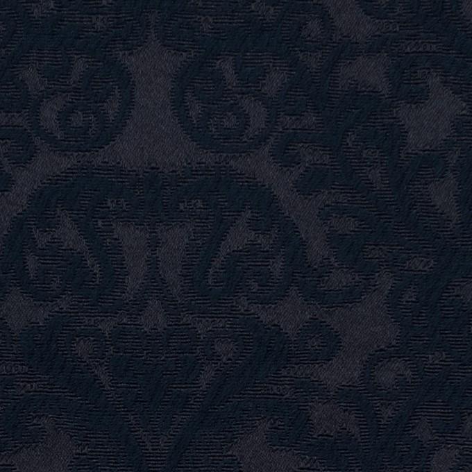 コットン&ポリエステル×幾何学模様(ブルーブラック)×サテンジャガード イメージ1