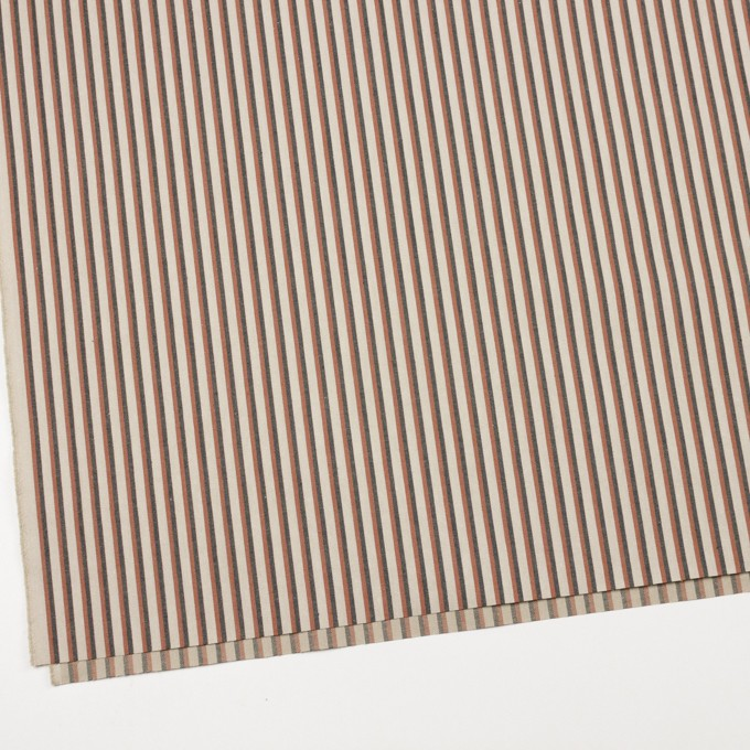 コットン×ストライプ(ベージュ、レンガ&ダークブラウン)×ヘリンボーン イメージ2