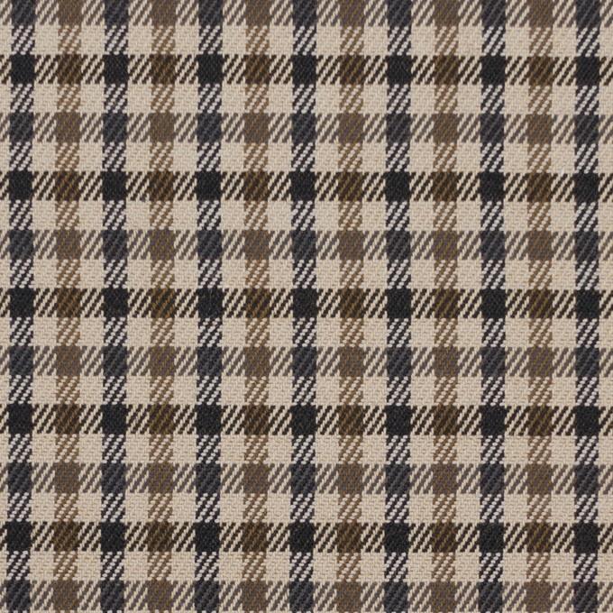 コットン&ポリウレタン×チェック(モカブラウン&ブラック)×ビエラストレッチ_全2色 イメージ1
