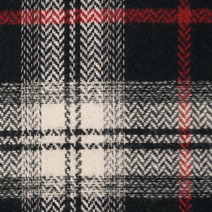 コットン×チェック(キナリ、レッド&ブラック)×ヘリンボーン イメージ1