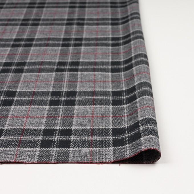 コットン×チェック(レッド、ブラック&グレー)×ヘリンボーン イメージ3