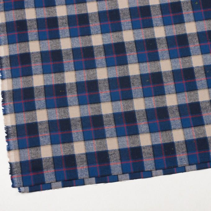 コットン&ポリウレタン×チェック(ベージュ&ブルー)×ヘリンボーン イメージ2