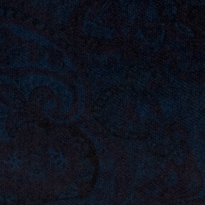 コットン&ポリウレタン×ペイズリー(ダークネイビー)×ベッチンストレッチ イメージ1