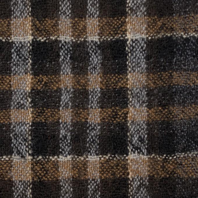 ウール×チェック(ブラウン&グレー)×ガーゼ イメージ1