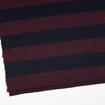 ウール&ポリエステル混×ボーダー(エンジ&ダークネイビー)×シャギー_全2色 サムネイル2