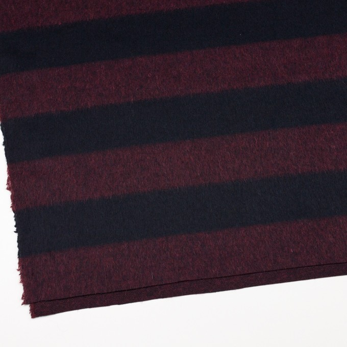 ウール&ポリエステル混×ボーダー(エンジ&ダークネイビー)×シャギー_全2色 イメージ2