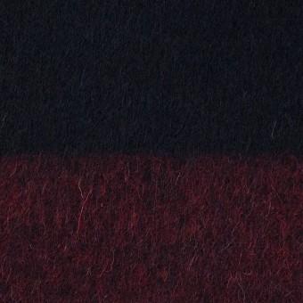ウール&ポリエステル混×ボーダー(エンジ&ダークネイビー)×シャギー_全2色