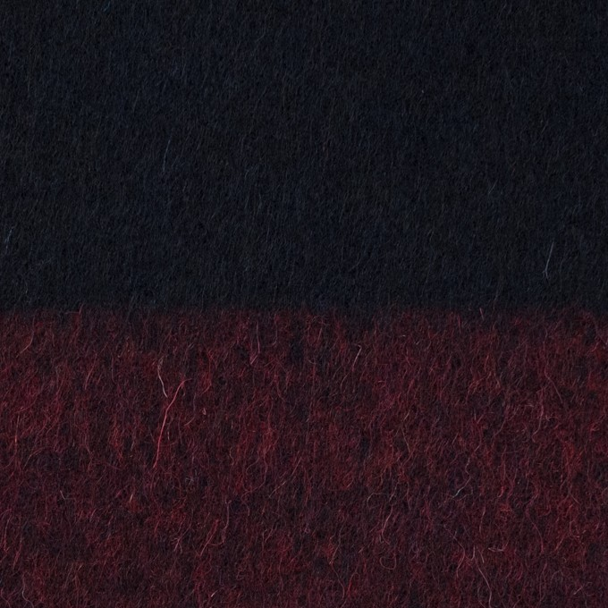 ウール&ポリエステル混×ボーダー(エンジ&ダークネイビー)×シャギー_全2色 イメージ1