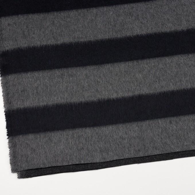 ウール&ポリエステル混×ボーダー(グレー&ダークネイビー)×シャギー イメージ2