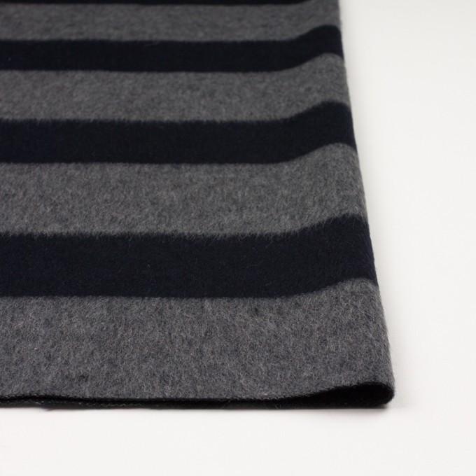 ウール&ポリエステル混×ボーダー(グレー&ダークネイビー)×シャギー イメージ3